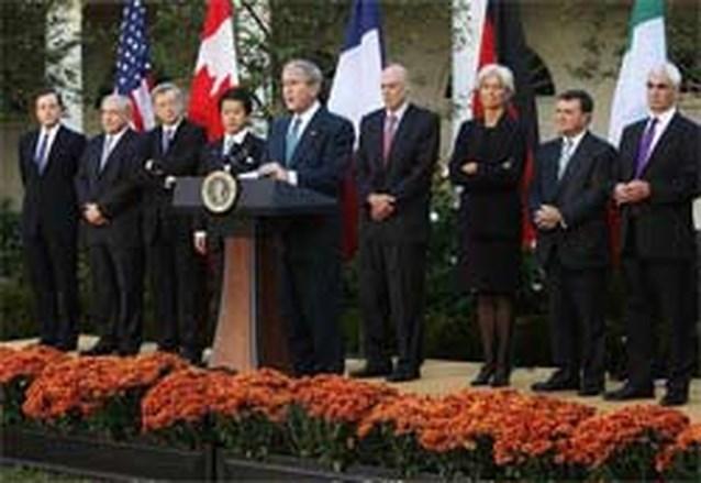 Bush: 'Financiële crisis samen bedwingen'