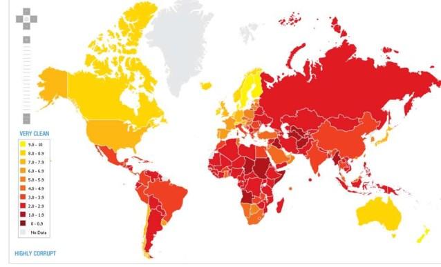 België zakt plaatsje in corruptie-ranglijst