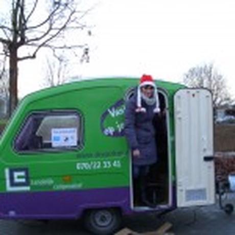 Jobcaravan ook op kerstmarkt in Hoegaarden,