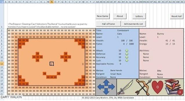Excel omgetoverd tot heuse videogame