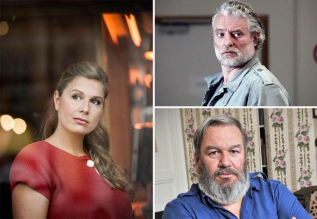 Wim Opbrouck en Filip Peeters naast Nathalie Meskens in 'Bowling Balls'