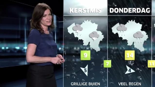 Jill Peeters presenteert het weerbericht van Kerstmis 2050