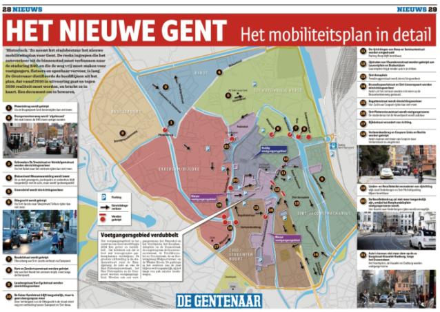 Kaart: het nieuwe Mobiliteitsplan van Gent in detail