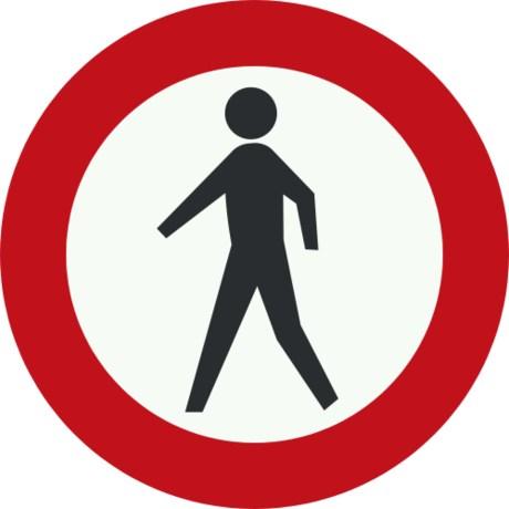 Verbodsbord voor voetgangers in de Ronde