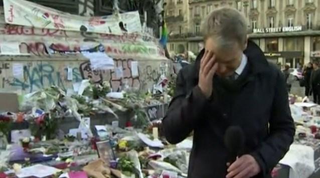 Reporter kan emoties niet bedwingen tijdens verslaggeving vanuit Parijs