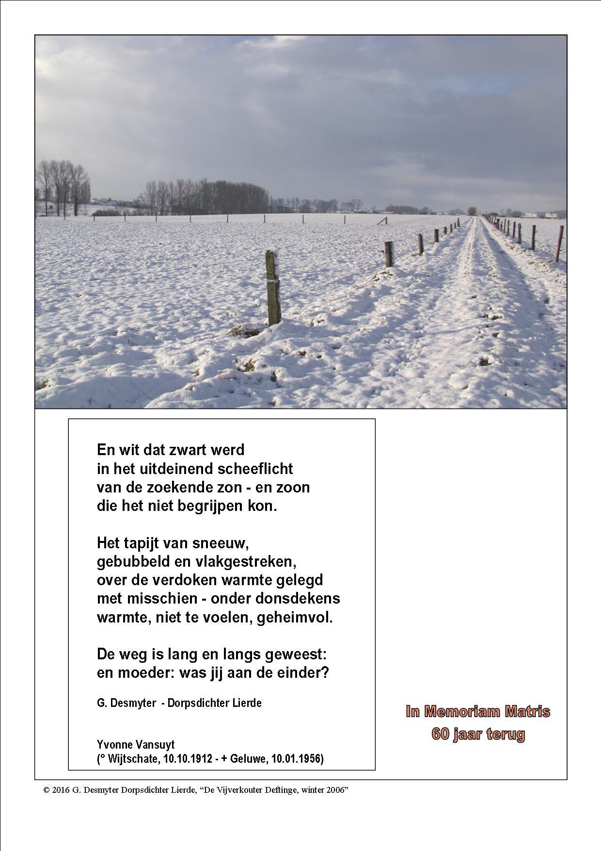 In Memoriam Matris Pilaargedicht Januari 2016 Lierde