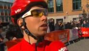 Sean De Bie ziet peloton vertrekken terwijl hij nog interview geeft