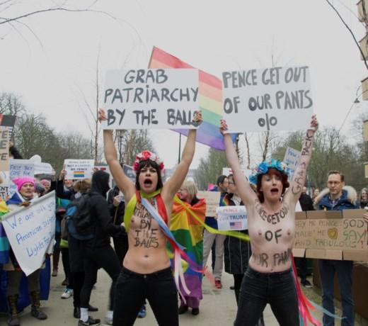 Kleinschalig protest tegen bezoek Mike Pence