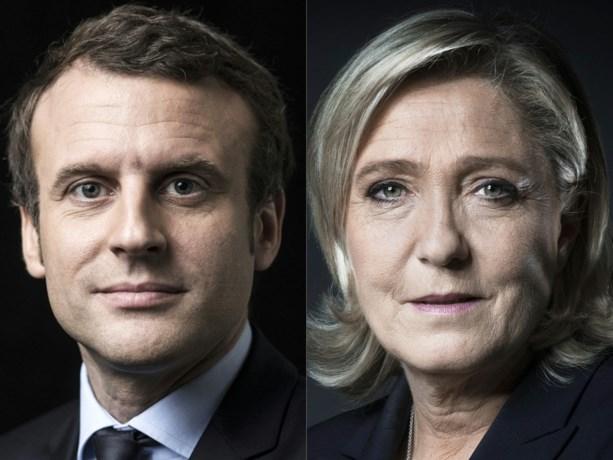 Extreem-rechtse Le Pen staat met Macron aan kop in peiling Franse verkiezingen