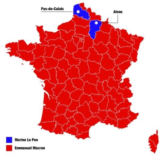 KAART. Zo stemden de Fransen bij de presidentsverkiezingen