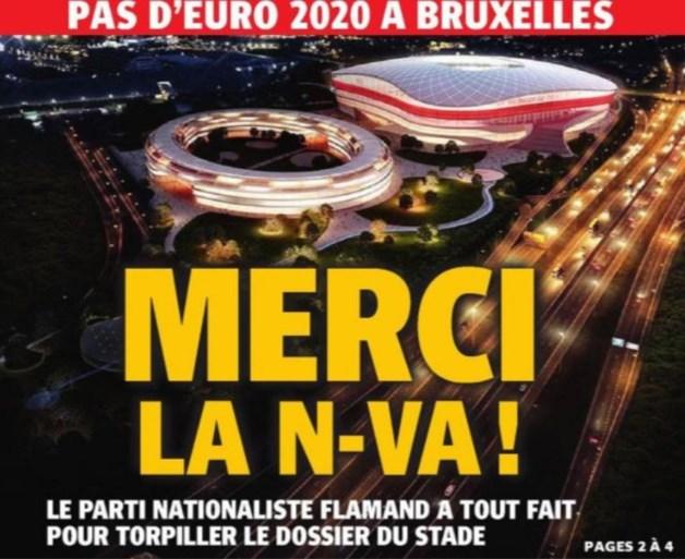 Theo Francken (N-VA) boos om beschuldigende voorpagina van Brusselse krant over Eurostadion