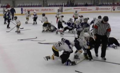 Jeugdwedstrijd tussen ijshockeyteams draait uit op massale vechtpartij