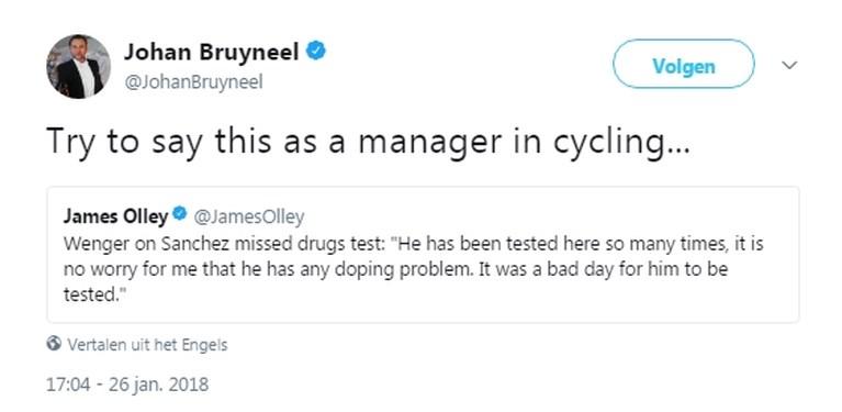 """Johan Bruyneel klaagt uitspraak Arsène Wenger aan: """"Zeg dat maar eens als manager in het wielrennen"""""""