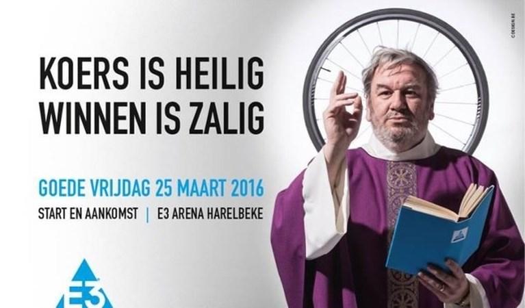 Deze keer geen vrouwelijk naakt op aangepaste banner van E3 Harelbeke, maar een sheriff