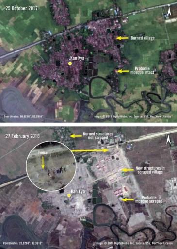 Leger bouwt militaire kampen op Rohingya-dorpen die het eerst heeft platgebrand