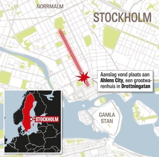 Toeval? Exact een jaar geleden reed een vrachtwagen in op een mensenmassa in Stockholm
