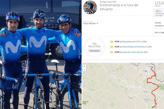 Tijdens verkenning van Tour-rit reed Valverde meteen enkele Strava-records op kasseien van Roubaix