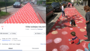 Facebook-grap wordt echte actie: bewoners kleuren massa witte bolletjes op knalrode fietsstraat