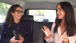 Meghan Markle deelt haar beautytips op de achterbank van een taxi
