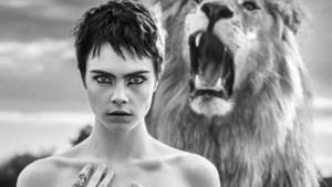Topless poseren met een leeuw? Geen probleem voor Cara Delevingne