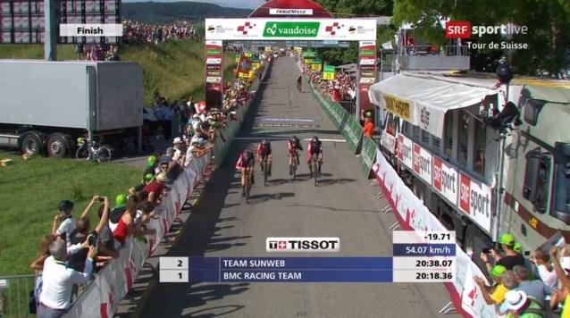 Greg Van Avermaet wint met BMC ploegentijdrit in Ronde van Zwitserland, Küng eerste leider