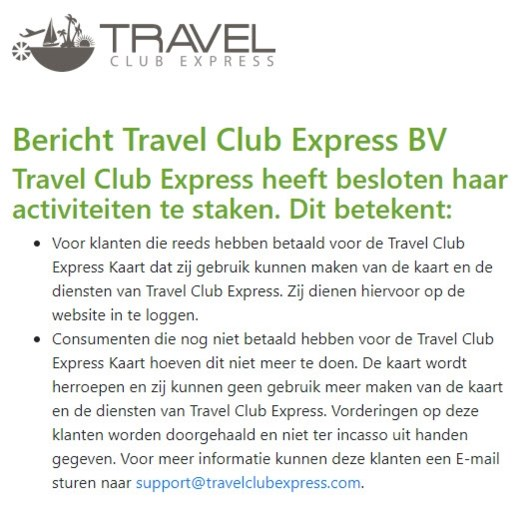 Valsspeler ontmaskerd? Schimmige 'Travel Club Express' houdt ermee op