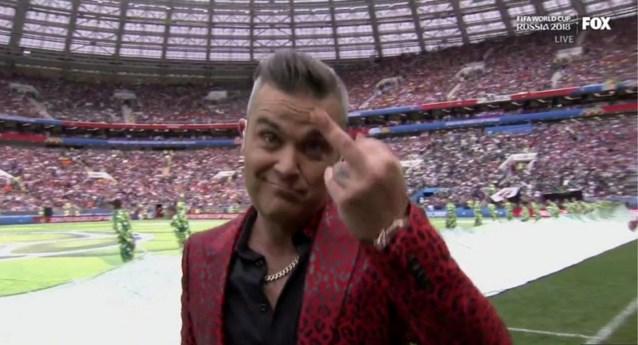 Waarom Robbie Williams middelvinger opstak tijdens WK-openingsceremonie
