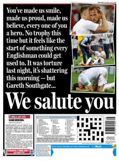 """Engelse pers is lyrisch ondanks onverwachte uitschakeling: """"Engeland was het beste team op het WK"""""""