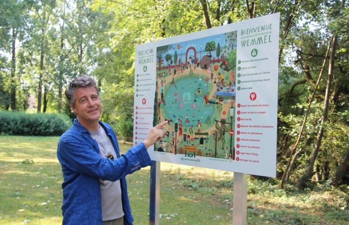 Tekenaar Tom Schamp illustreert wat wél en niet mag in het park: de grapjes zitten in de details
