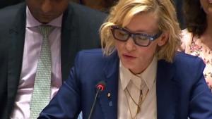 Cate Blanchett emotioneel tijdens VN-veiligheidsraad: