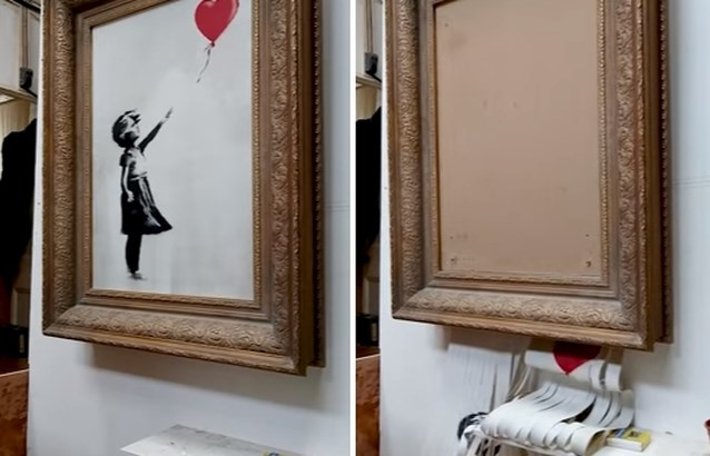 """Kunstwerk van Banksy had zichzelf eigenlijk helemaal moeten vernietigen: """"Elke repetitie ging het goed..."""""""
