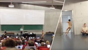 Studenten UGent onthalen streaker in hun les op groot applaus