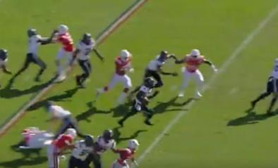 Een touchdown van wereldformaat scoren doe je zo: 22-jarige zorgt voor gek punt