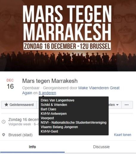 """Rechtse verenigingen organiseren """"Mars tegen Marrakech"""", ook Schild & Vrienden neemt deel"""