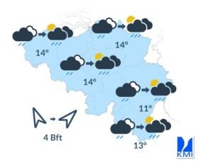 KMI voorspelt onstuimige woensdag met onweer, regen en rukwinden