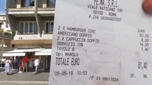 """Toeristen woedend om restaurantrekening in Rome: """"Zoveel voor hamburgers en koffie?"""""""
