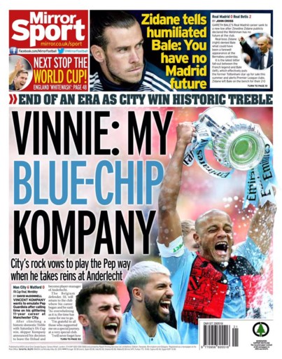 Engeland zwaait Vincent Kompany uit in stijl: kranten zetten hem op de voorpagina, spelers vieren hun kapitein op exclusief feestje