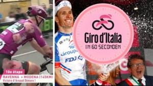 De Giro in 60 seconden: zwaaiende Bakelants, eerste voor Démare en zwaar gehavende puntentrui