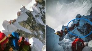 """Toeristen schuiven aan om hoogste bergtop ter wereld te bereiken terwijl """"levenloze zielen"""" onder hun voeten liggen"""