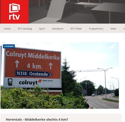 """Blunder met reclamebord: afstand van Herentals naar Middelkerke is slechts """"4 kilometer"""""""