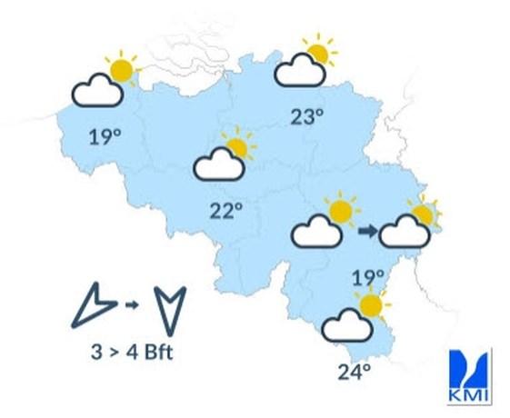 Woensdag blijft zonnig, temperaturen tot 23 graden