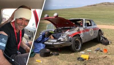 11 schroeven in gebroken arm, 17 draadjes in gescheurd oor, maar Johan (55) slaagt er toch in om na crash in woestijn mythische rally te finishen