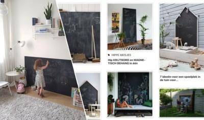 DE PINTEREST-TEST. Indoor krijten op een zelfgemaakt schoolbord