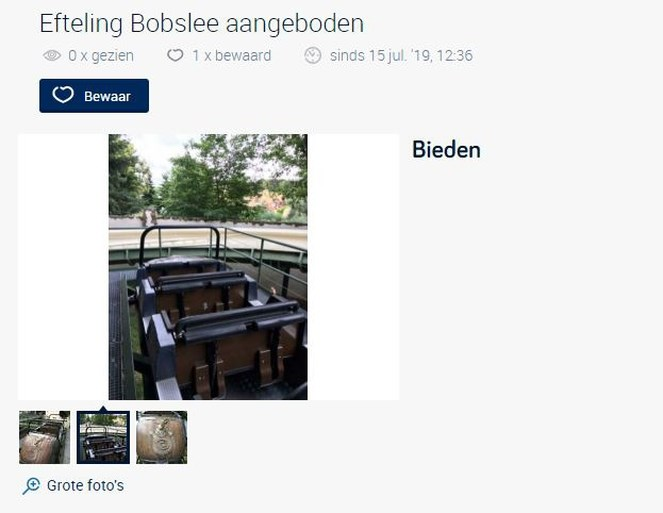 """Efteling verkoopt bobslee: """"Een eerbetoon, want de afbraak doet pijn"""""""