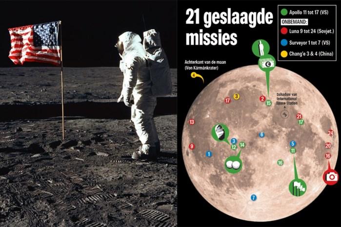 Een kleine stap voor de mens, veel afval voor de eeuwigheid: dit bleef allemaal al achter op de maan