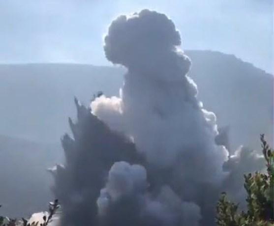 Indonesische vulkaan Tangkuban Perahu uitgebarsten