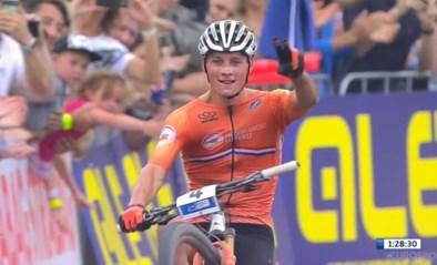Mathieu van der Poel blaast de tegenstand weg en wint EK mountainbike (en komt met een wheelie over de finish)