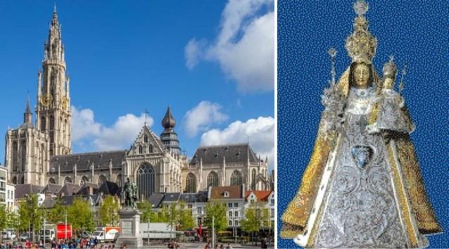 Antwerpse kathedraal maakt enorme Lego-mozaïek van Mariabeeld