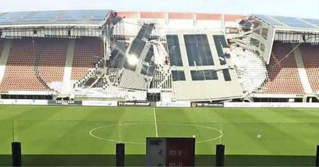 Deel van het dak van stadion Nederlandse voetbalclub AZ uit Alkmaar is ingestort