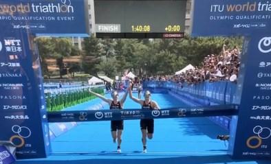 Gediskwalificeerd omdat ze hand in hand over meet komen: derde wint olympisch testevent triatlon